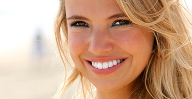 Blonde woman with a bright smile